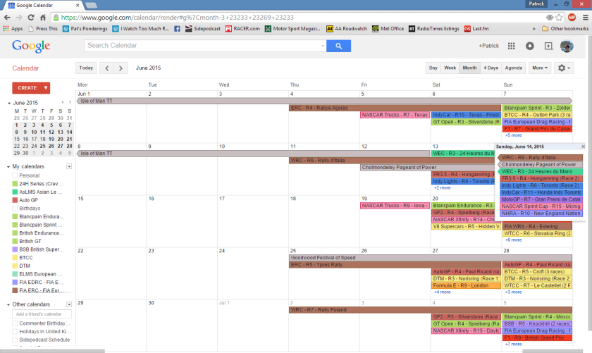 2019 Race Schedules for Google Calendar & iCal – I Watch Too