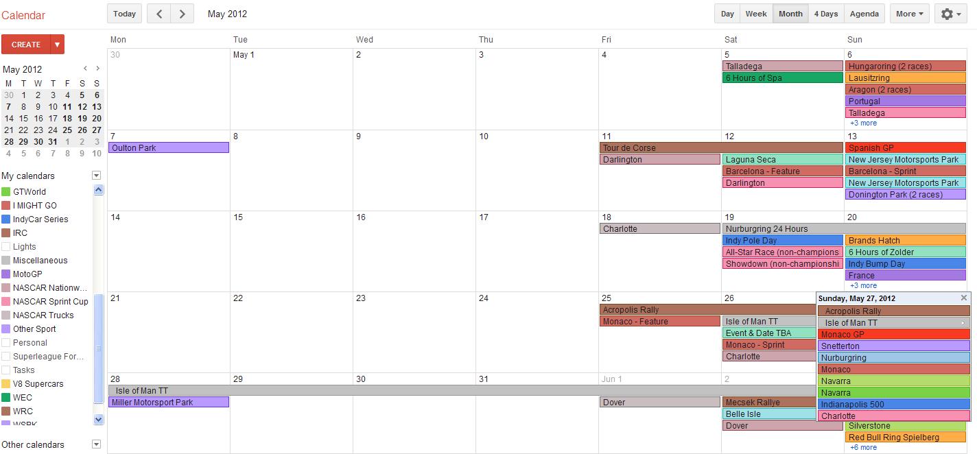 Racing Calendar May : Nascar i watch too much racing